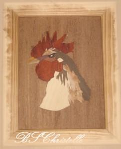 un coq dans Tableaux de marqueterie sans-titre-37-243x300
